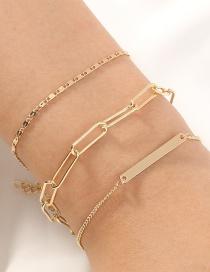 Fashion Golden Lattice Thick Chain Multi-layer Bracelet