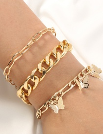 Fashion Golden Thick Chain Check Chain Pitted Butterfly Multi-layer Bracelet