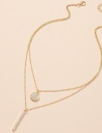 Fashion White K Diamond Cuban Chain Lock Shaped Alloy Pendant Necklace