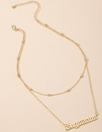 Fashion Golden Letter Pendant Round Bead Alloy Multilayer Necklace