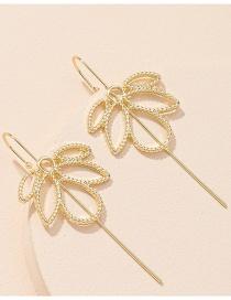 Fashion Golden One Word Maple Leaf Alloy Hollow Piercing Ear Bone Clip