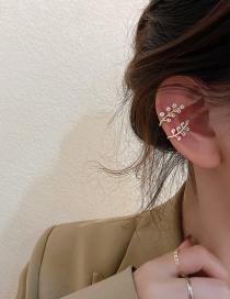 Fashion Golden Pair Micro-set Zircon Leaf Ear Bone Clip Earrings