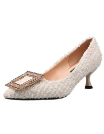Fashion Beige Pointed Non-slip Low Heel Hollow Metal Buckle Shoes