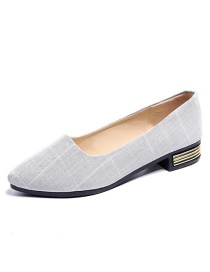Fashion White Gray Checked Shallow Pointed Flat Shoes