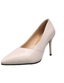 Fashion Beige Pure Color Stiletto Pointed Patent Leather High Heels