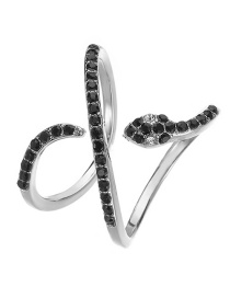 Fashion White K Crossed Snake Shaped Diamond Copper Gold Plated Open Ring