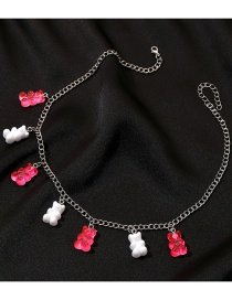 Fashion Pink Gummy Bear Resin Alloy Necklace