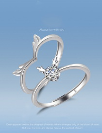 Fashion Silver Suit Antlers Diamond Couple Open Ring