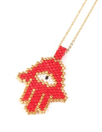 Fashion Red Palm Eyes Hand-woven Rice Bead Stainless Steel Necklace