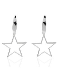 Fashion Silver Alloy Five-pointed Star Hollow Earrings