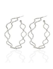 Fashion Silver Alloy Wave Geometric Hollow Earrings