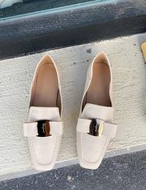 Fashion Apricot Flat Square Toe Bow Soft Leather Shoes