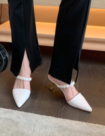Fashion White Baotou High Heel Pointed Toe With Half Slippers