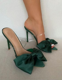 Fashion Green Pointed Bow Stiletto Heels