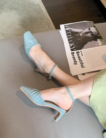 Fashion Light Blue Ruffled High-heeled Shoes With Square Toe Cap