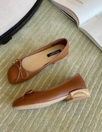Fashion Brown Bow Thick Heel Square Toe Shoes
