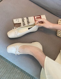 Fashion Apricot Flat Shoes With Square Toe Bow