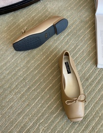 Fashion Its Card Flat Shoes With Square Toe Bow