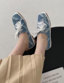 Fashion Blue Square-toe Lace-up Print Flat Fisherman Shoes