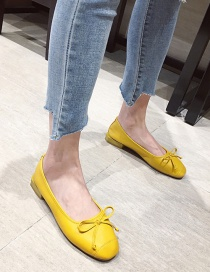 Fashion Yellow Bowknot Soft Leather Round Toe Flat Pumps