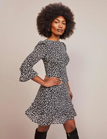 Fashion Black Dots Polka Dot Print Slim Dress