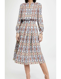 Fashion Geometric Print V-neck Geometric Print Patchwork Dress