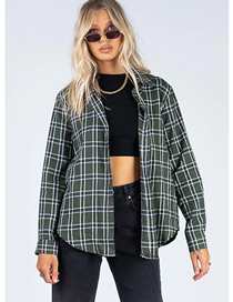 Fashion Green Grid Check Loose Shirt