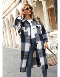 Fashion Black Woolen Plaid Loose Long Coat