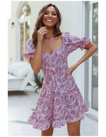 Fashion Purple Elastic Waist Cross Print Dress