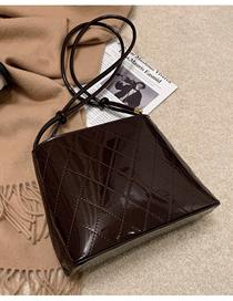 Fashion Brown Patent Leather Shiny Rhombus Shoulder Crossbody Bag