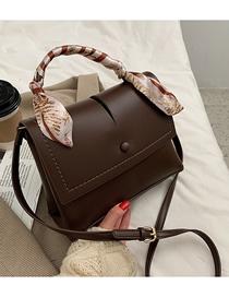 Fashion Brown Flap Solid Color Single Shoulder Messenger Bag