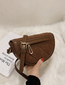 Fashion Coffee Color Corduroy Stitching Contrast Single Shoulder Messenger Bag