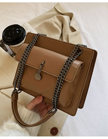 Fashion Brown Chain Flap Stitching Crossbody Shoulder Bag