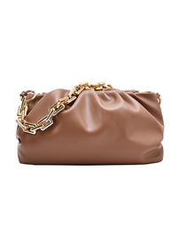 Fashion Brown Chain Pleated Crossbody Shoulder Bag