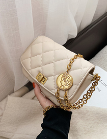 Fashion Off White Embroidery Line Rhombic Chain One-shoulder Diagonal Bag