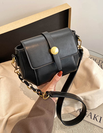 Fashion Black Chain Flap Stitching Crossbody Shoulder Bag
