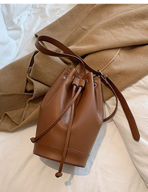 Fashion Brown Drawstring Stitching Crossbody Shoulder Bag