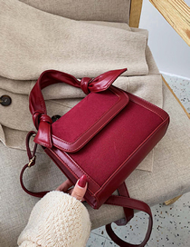 Fashion Red Wine Frosted Flap Stitching Shoulder Messenger Bag