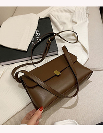 Fashion Coffee Color One-shoulder Crossbody Bag With Lock Flap
