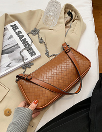Fashion Brown Hand-woven Lacquered Edge Chain Shoulder Messenger Bag