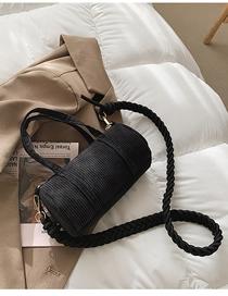 Fashion Black Striped Woven Shoulder Strap One-shoulder Messenger Bag