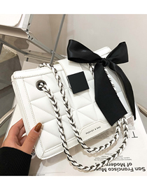 Fashion White Chain Embroidered Thread Crossbody Shoulder Bag