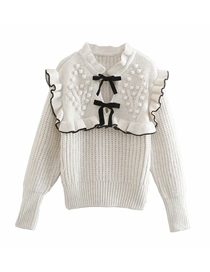 Fashion White Bowknot Sweater Knit Top