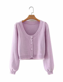 Fashion Purple Pure Color Square Collar Buttoned Plush Long-sleeved Sweater Sweater
