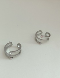Fashion Double Silver Hollow Lines Twisted Twisted Ear Bone Clip