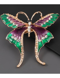 Fashion Butterfly Alloy Dripping Diamond Butterfly Brooch