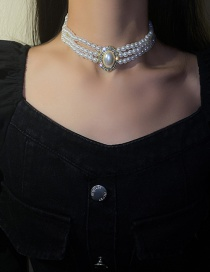 Collar Multicapa Geométrico De Diamantes Mosaico De Perlas