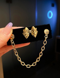 Fashion Bowknot Metal Chain Butterfly Combined With Gold Hollow Hairpin