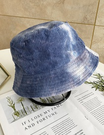 Fashion Navy+white Tie-dyed Corduroy Double-sided Fisherman Hat