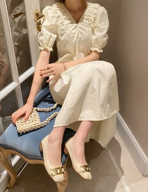 Fashion Apricot Square Toe Low Block Heel Chain Shoes